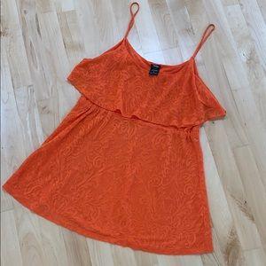 Lacey orange long tank top